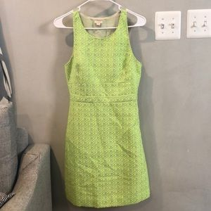 Neon green houndstooth style dress